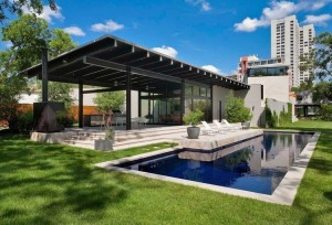 Adorable-Exterior-Design-of-Main-Street-House-by-Robertson-Design-Including-Mini-Pool-Surrounded-with-Green-Grass-Field-at-Frontyard