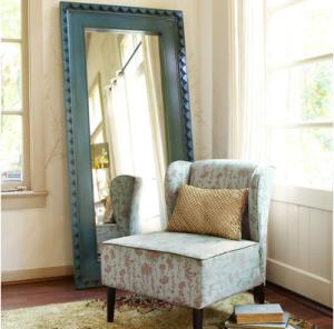 Smoke Blue Floor Mirror $350